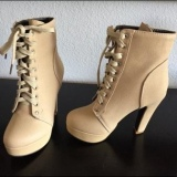 Cream Heeled Combat Boots