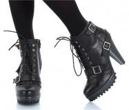 High Heel Combat Boots