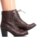 Lace Up Chunky Heel Combat Boots