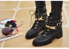 Spike Heeled Combat Boots