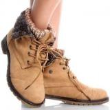 Tan Heeled Combat Boots
