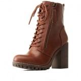 Zipper Heeled Combat Boots