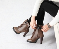 Ankle Combat Boots with Heel