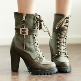Green Heeled Combat Boots