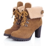 Heel Combat Boots with Fur