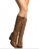 Knee High Heeled Combat Boots