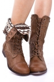 Low Heel Foldover Combat Boots