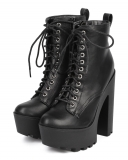 Platform Heeled Combat Boots