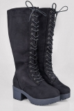 Black Knee High Boots Wide Calf