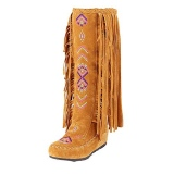 Embroider Knee High Fringe Boots
