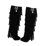 Knee High Fashion Fringe Boots