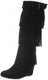Knee High Fringe Wedge Boots