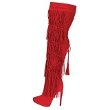 Red Knee High Fringe High Heel Boots