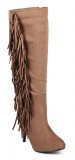 Side Fringed Knee High Boots