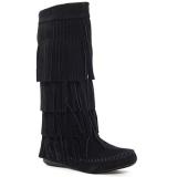 Black Knee High Fringe Boots