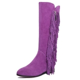 Flat Knee High Boots With Fringe