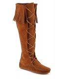 Front Lace Knee High Fringe Boots