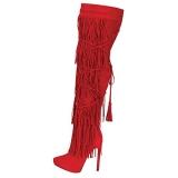 Red Knee High Fringe High Heel Boots