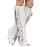 White Side Fringed Knee High Boots
