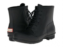 Black Lace Up Rubber Boots