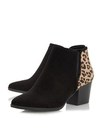 03816f5be0e4b Black and Leopard Ankle Boots