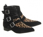 Leopard Ankle Boots for Women Buckle