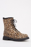 Leopard Print Ankle Boots Womens