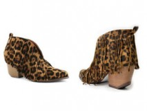Leopard Print Ankle Boots with Fringes