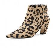 Low Heel Leopard Ankle Boots