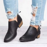 Block Heel Low Cut Slip On Work Boots