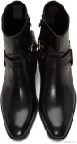 Leather Black Harness Boots for Mens