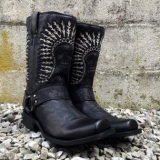 Mens Black Harness Boots