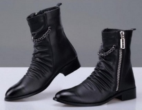 Mens Black Harness Zipper Boots