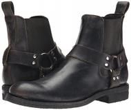 Mens Black Harness Boots Round Toe