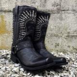 Mens Black Harness Boots