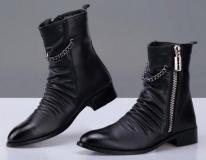 Mens Black Harness Zipper Boots
