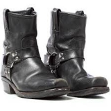 Mens Leather Black Harness Boots