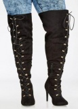 Plus Size Knee High Lace Up Boots
