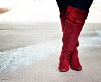 Plus Size Red Knee High Boots