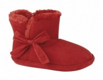 Red Faux fur Slipper Boots