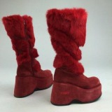 Red Fur Boots Knee High