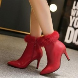 Red Fur Boots with Heels