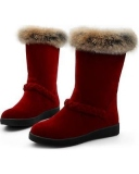 Red Fur Snow Boots