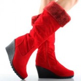 Red Fur Wedge Boots