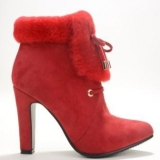 Faux Red Fur Boots