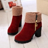 Womens Red Fur Boots