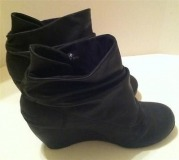 Black Suede Slouch Wedge Boots