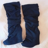 Blue Tall Slouch Wedge Boots