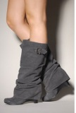 Grey Slouch Wedge Boots