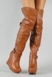 Knee High Wedge Slouch Boots Tan
